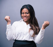 African businesswoman celebrating her winner Royalty Free Stock Images
