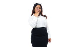 African businesswoman covering her mouth Stock Photography
