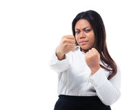 African businesswoman with fist Royalty Free Stock Photos
