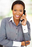 African businesswoman landline Stock Photos