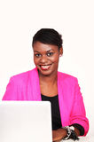 African businesswoman with laptop Stock Images