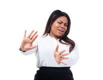 African businesswoman making stop sign Stock Photo