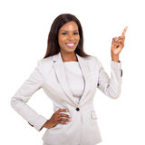 African businesswoman pointing up Royalty Free Stock Photos
