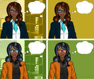 African Businesswoman pop art comic. Beautiful businesswoman of African ethnicity in office interior pop art comic scene with and without detailed background Royalty Free Stock Image