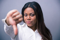 African businesswoman showung thumb down Royalty Free Stock Photo