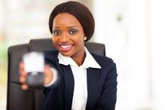 African businesswoman smart phone Stock Image
