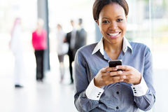 African businesswoman smart phone Royalty Free Stock Photography