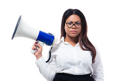 African businesswoman standing with megaphone Stock Photo