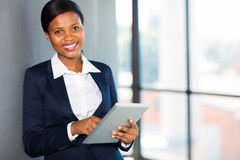 African businesswoman tablet Stock Photo
