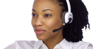 African businesswoman talking with headset Royalty Free Stock Images