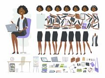 African businesswoman - vector cartoon people character constructor. Isolated on white background. Set of body parts, face expressions, positions for animation stock illustration