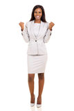 African businesswoman waving fists Royalty Free Stock Image