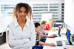 African businesswoman young office with computer Royalty Free Stock Photos