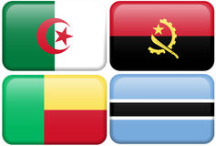 African Buttons: Algeria, Angola, Benin, Botswana Royalty Free Stock Photo