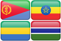 African Buttons: Eritrea, Ethiopia, Gabon, Gambia Royalty Free Stock Photography