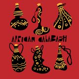 African Calabash. Set of african calabash on red background royalty free illustration