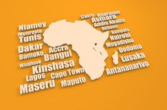 African capitals around outline map. Travel relative 3D illustration Royalty Free Stock Photo