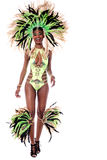 African carnival over white. Full length of samba dancer walking forward Stock Images