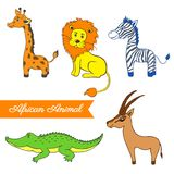 African cartoon animal, giraffe, lion, zebra, crocodile, gazelle Royalty Free Stock Photos