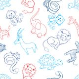 African cartoon animal turtle, giraffe, lion, zebra, gazelle, zebra, monkey, elephant, snake isolated on white. Background, Vector seamless pattern, line art stock illustration