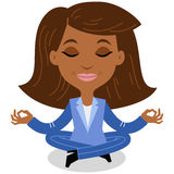 African cartoon business woman meditating, sitting in lotus pose. Vector illustration of a calm and smiling african cartoon business woman in a blue suit doing Stock Image