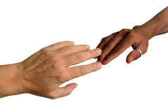 African and Caucasian fingers touching Stock Images