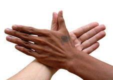 African and Caucasian hand united. African black and Caucasian white hand touching thumbs up in unity. Isolated over white Royalty Free Stock Photo
