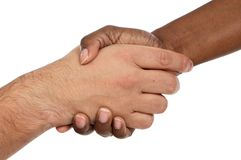 African and caucasian male shaking hands Stock Photography