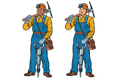 African and Caucasian miners with jackhammer pickaxe Stock Images