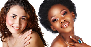 African and caucasian woman Stock Photo