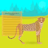 African Cheetah. Against Symplistic Nature Background and Poster with Space for Interesting Facts about this Animal. Educational Card for Childrens Schooling Stock Image