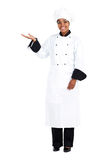 African chef. Full length portrait of african american female chef over white Stock Photo