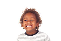 African child making a forced smiling Stock Photo