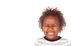 African child making a forced smiling Stock Photos