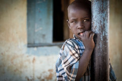 African child photographed at school in Uganda royalty free stock image