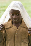 African child in a raining day Royalty Free Stock Photography