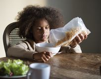 African child ready to eat breakfast Royalty Free Stock Image
