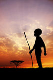 African child at sunset. An illustration of African child at sunset Royalty Free Stock Images