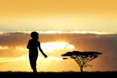 African child at sunset. Illustration of African child at sunset Royalty Free Stock Images