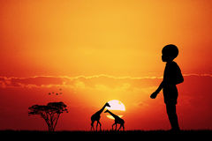 African child at sunset. Illustration of African child at sunset Royalty Free Stock Photography