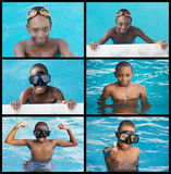 African child in the swimming-pool. Collage of african child in the swimming-pool stock photo