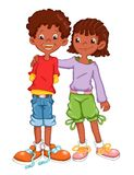 African children. Illustration, colored with photoshop that represents the friendship among two African children Royalty Free Stock Photography