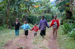 African Children. Happy African Children coming home Royalty Free Stock Image