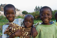 African Children. Posing for a photo at a Tanzanian street Stock Image
