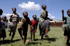 African children. Nairobi, Kenya. Street children play happily in a park. There are many street children in Nairobi. The association Resque Dada, was born in Stock Images