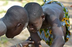 African children. Kartiak, Senegal- September 25,2012: children in the traditional struggle of Senegal, this sport is the most ancient competitive discipline in stock photography