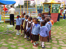 African children. Children in school uniform in an amusement park in Addis Abeba, Ethiopia Stock Photo