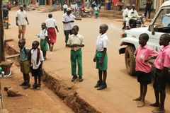 African children attentively look at someone. Royalty Free Stock Photos
