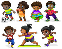 African children engaging in different activities Stock Photo