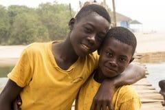 African children in ghana. Accra, Ghana - December 30, 2016: happy African children in Accra, Ghana Royalty Free Stock Images